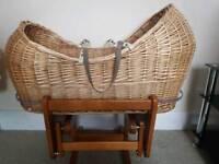 Moses Basket (Wood & Wicker)