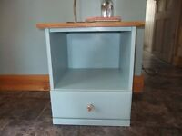 bedside chest blue with pine top