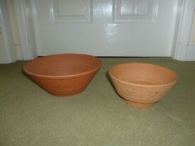Two Terracotta Indoor Planters Pots Good for Bulbs