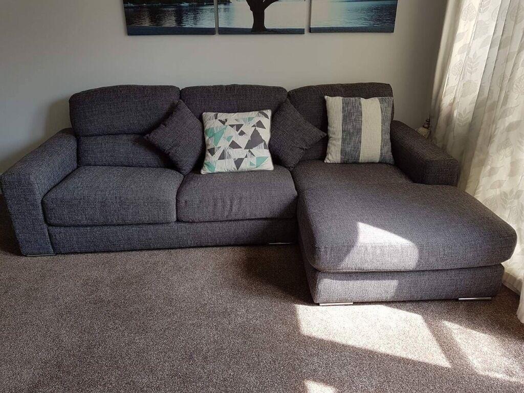 Dark Grey Pisa Corner Sofa 3 Seater With Chaise In
