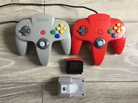 2 N64 controllers, expansion pack and rumble pack