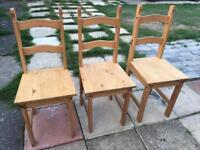 3 x Solid pine chairs in excellent condition