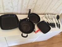 Wok, frying pan, griddle, utensils