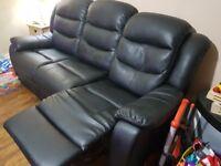 2 x 3 seater faux leather sofa black