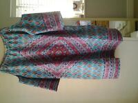 Summer tunic, shoulder straps, drop sleeves - size S.