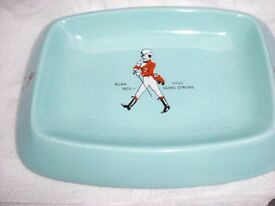 "VINTAGE JOHNNY WALKER ROBIN EGG BLUE ASHTRAY 9 1/2"" ( 24cm ) x 7"" ( 18cm ) - NEW - NEVER USED"