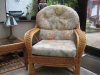 Conservatory suite, 2 chairs 1 two seater settee 2 side tables all in good condition.