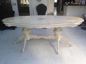 Beautiful Italian style cream twin pedestal table