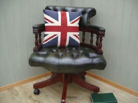 Stunning Green Leather Chesterfield Captains Chair.