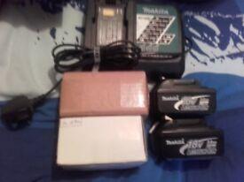 makita 18v 3.0ah batteries x4 and chauger