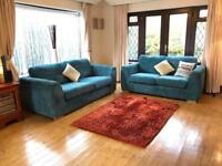 Turquoise 3 + 2 Seater Jumbo Cord Sofa Suite Good Condition Delivery Possible
