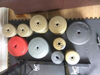 Weight plates vinyl type with EZ bar and barbell