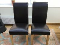4 Black High Backed PVC Dining Chairs