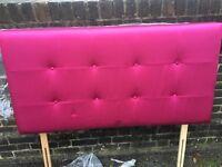 """Gorgeous Pink Silk Headboard 4ft 6"""""""