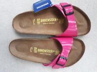 Birkenstock ladies patent pink sandals UK 4.5