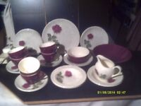 TEA SERVICE , VERY PRETTY WHITE with ROSES , 6 CUPS , SAUCERS , TEA PLATES & FRUIT DISHES