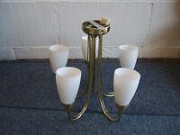 5 Arm Antique Brass Ceiling Light