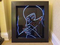 UNIQUE Art Deco UV Wall Light Sculpture 1920s 1930s Flapper Neon Disco Retro Vintage Lady