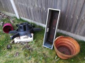 Plant pots planters terracotta ceramic galvanised metal + christmas tree stand