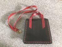 B.M. Designer Dark Tan/Red Hand Bag