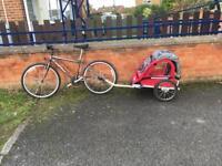 Bike trailer with bike