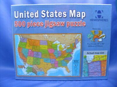 "United States Map 500 Piece Jigsaw Puzzle (24""x 36"") NIB Sealed; (500 Piece Map)"