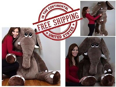 Elephant Giant Large Big Jumbo Size Stuffed Animals Plush Soft Squishy Huggable