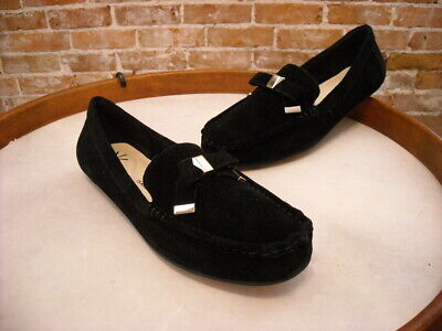 Isaac Mizrahi Alia Black Suede Tipped Bow Moccasins NEW