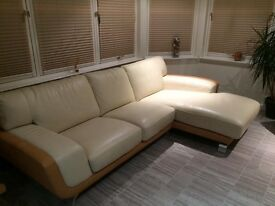 Corner two toned leather sofa with armchair