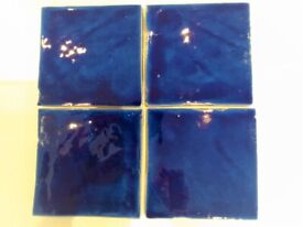 Unique stunning deep blue glazed hand made terracotta tiles