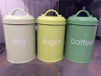 Green Tea coffee sugar canisters and 5 cups