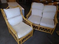 Conservatory cane suite, sofa,chair