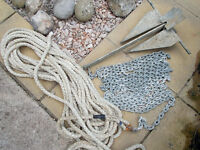 3.2KG DANFORTH ANCHOR 20FT OF 6MM CHAIN AND 65FT OF 15MM ROPE