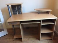 Computer desk with 2 pull out shelves for keyboard & scanner