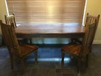 Large dining table, 6 chairs and large sideboard