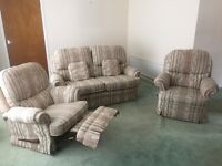 3 Piece Suite - With 2 Reclining Chairs and Sofa, Great Lounge Furniture. Comfortable Armchairs