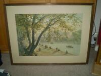Large Framed Picture of Fisherman Fishing on the Banks of the River Seine, collectors item.