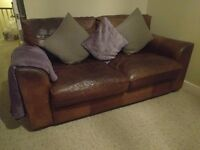 Vintage Tanning Company Brown Leather 2 Seater Sofa - Quality leather