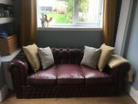 Chesterfield 3 Seater Leather Sofa Brown