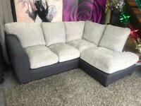 New Quartz Fabric Compact Right Hand Corner Standard Back Chaise Sofa In Charcoal Grey and Silver