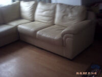Cream Leather Corner Suite.No Rips Or Tears and in good condition