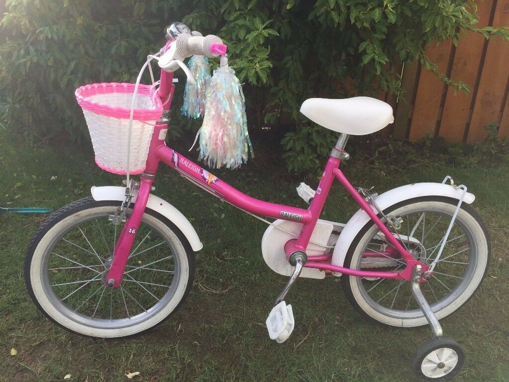 """Girls 16"""" Raleigh bike c/w stabilisers and basket. pick up only."""