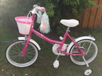 "Girls 16"" Raleigh bike c/w stabilisers and basket. pick up only."
