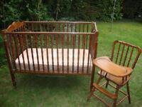 1950s wooden high chair and cot-bed matching set