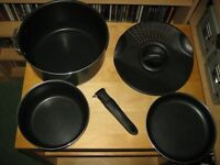 Tefal Non Stick Camping Backpacking Cooking Pans Pot Cook Set Bivouac Compact With Case Cost £80