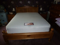 Solid Pine Double Bed (4ft 6in) with mattress. Good condition.