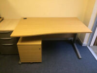 Oak Wave Desk with Under desk Pedestal