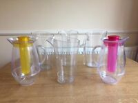 Set of four 2 litre plastic jugs, plus two cooler jugs with refreezable ice core