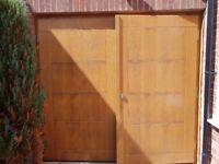 Solid Oak Garage Doors with cedar finish & all chrome fittings & lock