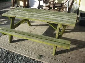 GARDEN PICNIC WOODEN BENCH. SITS 8. GOOD CONDITION. VIEWING/DELIVERY AVAILABLE